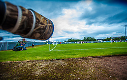 The Bet Butler Stadium, home of Dumbarton Football Club. The 2,025 all seated stadium has been used since December 2000. The main stand is overshadowed by Dumbarton Rock &amp; sits aside the banks of the River Leven.<br /> &copy;Michael Schofield.