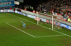 Robert Olejnik of Exeter City watches Jerome Sinclair of Liverpool goal hit the back of the net. - Mandatory byline: Alex James/JMP - 08/01/2016 - FOOTBALL - St James Park - Exeter, England - Exeter City v Liverpool - FA Cup Third Round