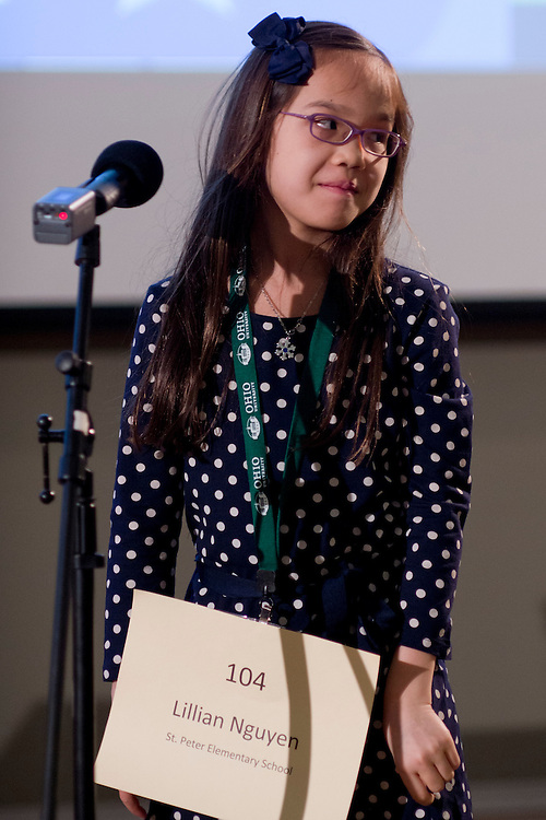 Lillian Nguyen of St. Peter Elementary School introduces herself during the Southeastern Ohio Regional Spelling Bee Regional Saturday, March 16, 2013. The Regional Spelling Bee was sponsored by Ohio University's Scripps College of Communication and held in Margaret M. Walter Hall on OU's main campus.