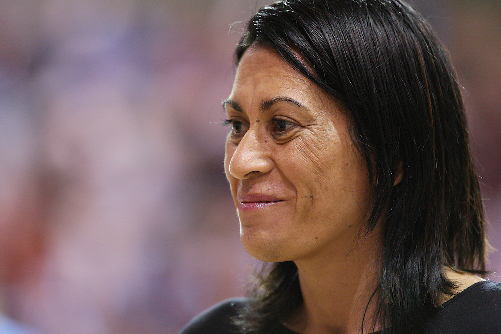 Magic's coach Noeline Taurua is interviewed prior to the match between the Magic and Southern Steel in the ANZ Netball Championships at Invercargill Velodrome, Invercargill, New Zealand, Monday, April 02, 2012. Credit:SNPA / Dianne Manson