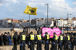 © Licensed to London News Pictures . 22/10/2016 . Margate , UK . A White Lives Matter protest and march , opposed by antifascists , is held in Margate , Kent . Photo credit : Joel Goodman/LNP