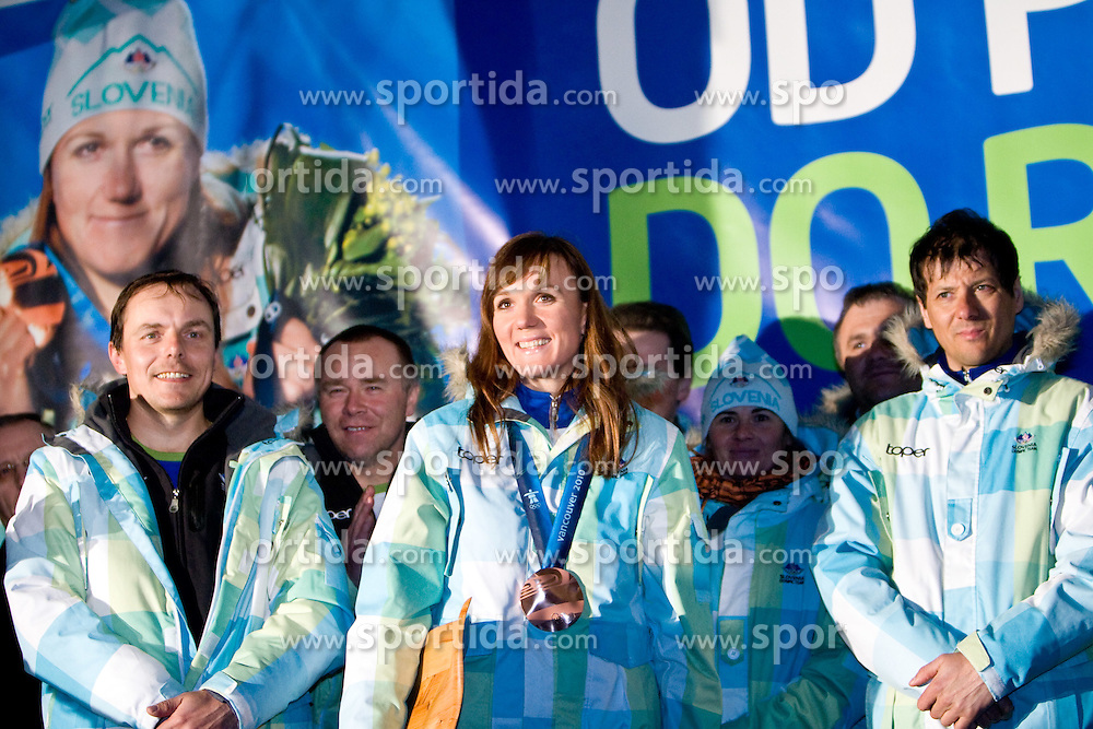 Ivan Hudac, Stefan Lichon, Slovenian bronze medalist cross-country skier Petra Majdic and Andreja Mali at reception at her home town Dol pri Ljubljani after she came from Vancouver after Winter Olympic games 2010, on March 1, 2010 in Dol pri Ljubljani, Slovenia. (Photo by Vid Ponikvar / Sportida)