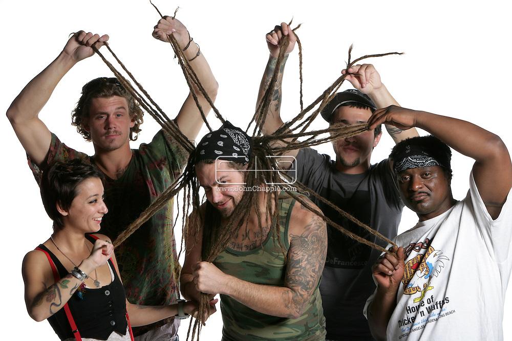 31st May 2009. Los Angeles, California. Soul Cloud band members Duke Gadd, Noelle Furlong, Chris Abbot (CAVIAR) Michael Malerba and Justin Iannelli, pictured at The Good Hurt. PHOTO © JOHN CHAPPLE / www.chapple.biz (001) 310 570 9100