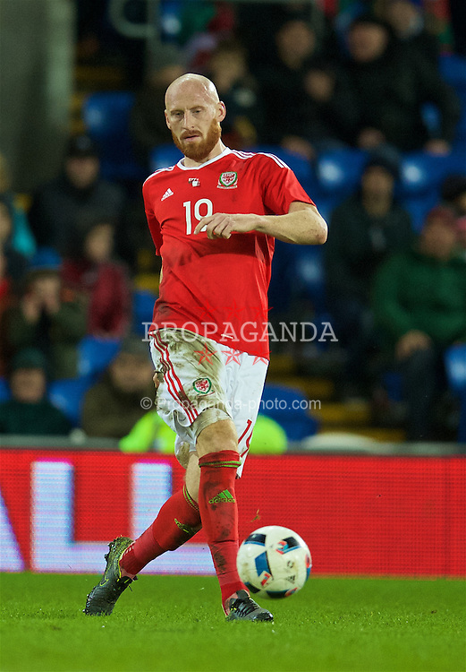 CARDIFF, WALES - Friday, November 13, 2015: Wales' James Collins in action against the Netherlands during the International Friendly match at the Cardiff City Stadium. (Pic by David Rawcliffe/Propaganda)