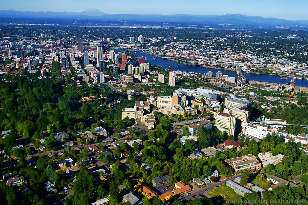 City of Portland featuring Oregon Health & Science University (OHSU) with Mount St. Helens (1)