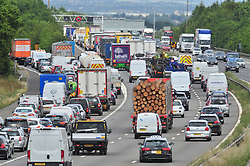&copy; Licensed to London News Pictures. 21/07/2017<br /> Traffic QUEUE HELL on the M25 all afternoon.SOME DRIVERS TRYING TO GET OFF AT J3.<br /> THE BACK OF THE QUEUING TRAFFIC Anti-clock wise at Junction 3 for Swanley Kent.<br />  Traffic is at a near standstill as the summer holiday getaway madness begins as the schools break up for the summer.<br /> Photo credit: Grant Falvey/LNP