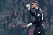 Celtic Keeper Fraser Forster celebrates as his side double their lead during the Betfred Scottish League Cup semi-final match between Hibernian and Celtic at Hampden Park, Glasgow, United Kingdom on 2 November 2019.