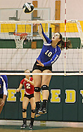 Washington's Danielle Franklin (10) goes up for a kill during the MVC Volleyball Tournament Championship game between the Hempstead Mustangs and the Washington Warriors at Kennedy High School in Cedar Rapids on Saturday October 13, 2012. Hempstead defeated Washington 25-21 25-19.