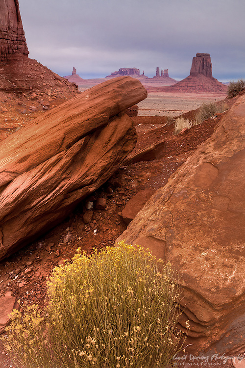 A cold, winter day at North Window, Monument Valley, Arizona.