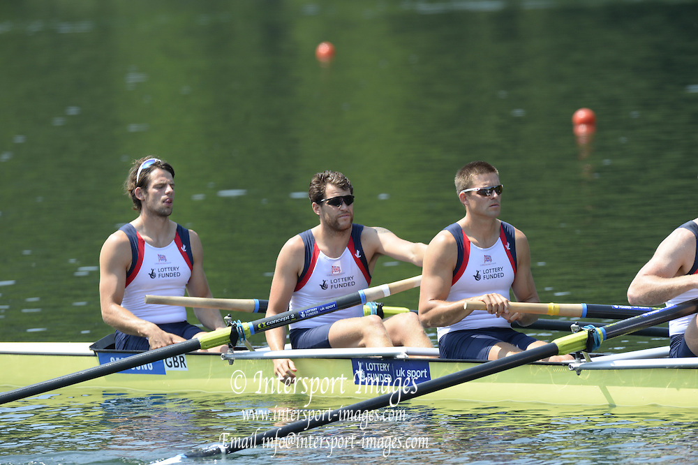 Lucerne. Switzerland. GBR1 M8+. Bow. Tom RANSLEY, Dan RICHIE, Peter REED, Will SATCH, Mo SBIHI, Alex GREGORY George NASH, Andy TRIGGS HODGE and cox,  Phelan HILL, move away from the start pontoon in their heat of the  men's eights FISA WC III. 13:46:22  Friday  12/07/2013  [Mandatory Credit, Peter Spurrier/ Intersport Images] Lake Rotsee,