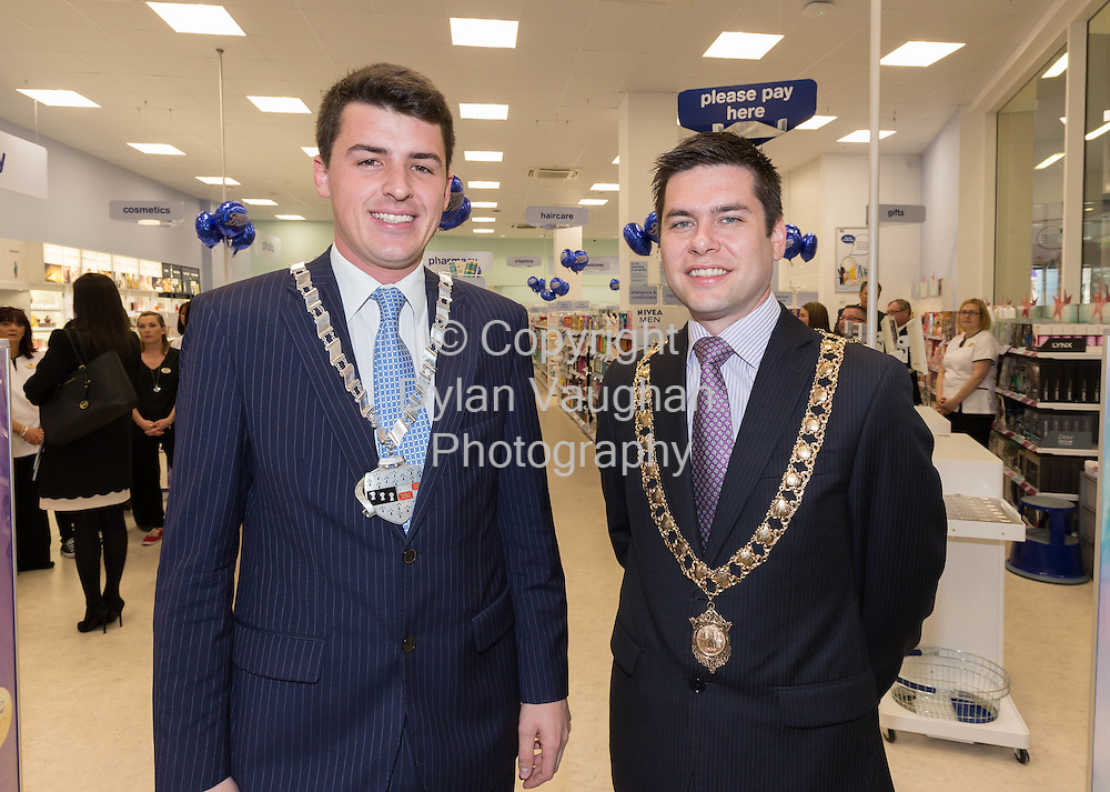 Repro free No Charge for Repro<br /> 1-10-14<br /> <br />  <br /> Pictured at the official opening of the new Boots store at Mac Donagh Junction Shopping Centre in Kilkenny on the 1st of October was Cllr. Patrick McKee Leas Cathaoirleach and Mayor of Kilkenny Cllr. Andrew McGuinness.<br /> <br /> <br /> <br /> <br /> Picture Dylan Vaughan