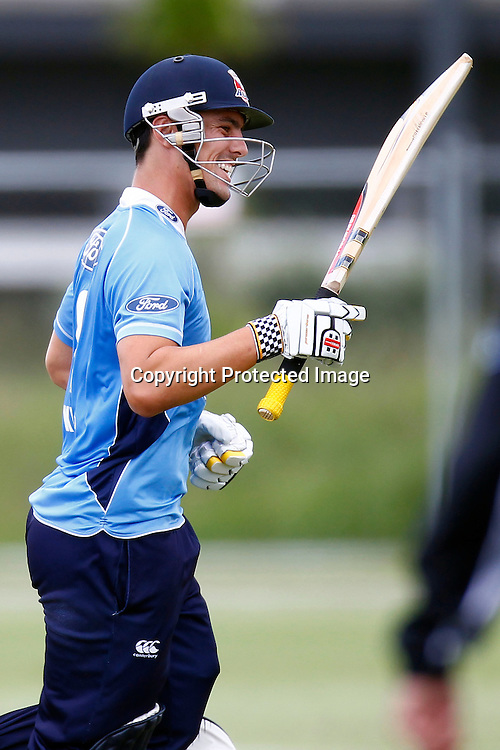 Anaru Kitchen celebrates his century during the Ford Trophy match between the Auckland Aces v Otago Volts. Preliminary Final, Men's domestic 1 day cricket. Colin Maiden Park, New Zealand. Wednesday 8 January 2012. Ella Brockelsby / photosport.co.nz