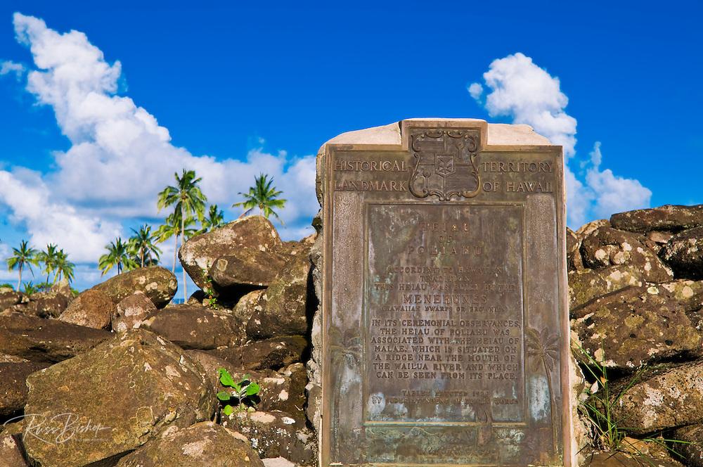 Historical placque at Poli'ahu Heiau (temple), Wailua River State Park, Island of Kauai, Hawaii