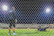 BOEKAREST - 19-08-15, Europa League, Astra GiurGiu - AZ, training, Stadionul Giulesti, AZ speler Gino Coutinho (l), AZ keeper Sergio Rochet (r).