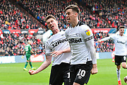 Goal - George Evans (17) of Derby County and Tom Lawrence (10) of Derby County celebrate after Jayden Bogle (37) of Derby County scores a goal to give a 0-2 lead to the away team during the EFL Sky Bet Championship match between Bristol City and Derby County at Ashton Gate, Bristol, England on 27 April 2019.