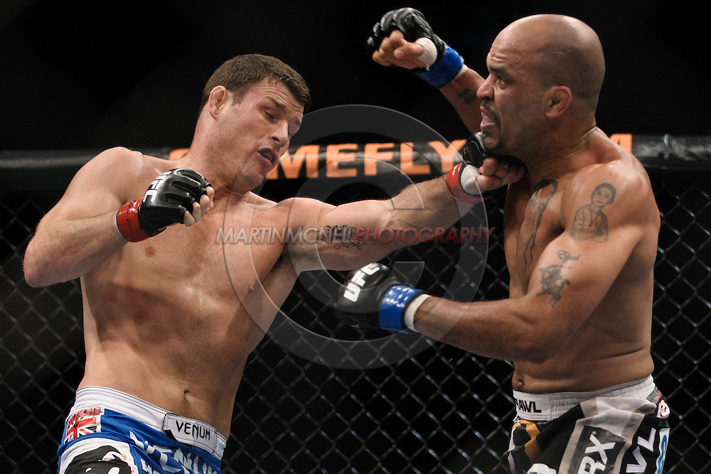 "SYDNEY, AUSTRALIA, FEBRUARY 27, 2011: Michael Bisping (left) lands a left jab on the chin of Jorge Rivera during ""UFC 127: Penn vs. Fitch"" inside Acer Arena in Sydney, Australia on February 27, 2011."