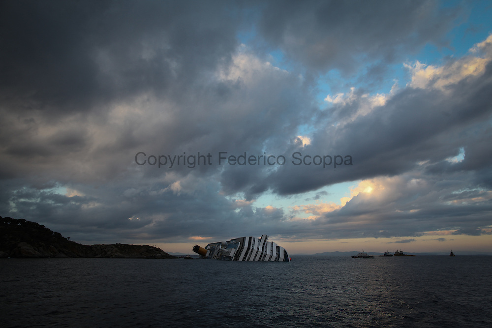 The Costa Concordia Cruise ship with the rescue boats