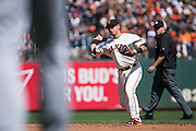 San Francisco Giants second baseman Joe Panik (12) throws to first base against the San Diego Padres at AT&T Park in San Francisco, Calif., on September 14, 2016. (Stan Olszewski/Special to S.F. Examiner)