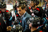 KELOWNA, CANADA - SEPTEMBER 22:  Kelowna Rockets' assistant coach Travis Crickard stands on the bench during a time out against the Kamloops Blazerson September 22, 2018 at Prospera Place in Kelowna, British Columbia, Canada.  (Photo by Marissa Baecker/Shoot the Breeze)  *** Local Caption ***