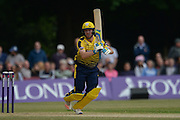 Hampshire all-rounder Liam Dawson batting during the NatWest T20 Blast South Group match between Middlesex County Cricket Club and Hampshire County Cricket Club at Uxbridge Cricket Ground, Uxbridge, United Kingdom on 27 May 2016. Photo by David Vokes.