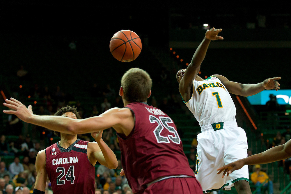 WACO, TX - NOVEMBER 12: Kenny Chery #1 of the Baylor Bears brings loses the ball against the South Carolina Gamecocks on November 12, 2013 at the Ferrell Center in Waco, Texas.  (Photo by Cooper Neill/Getty Images) *** Local Caption *** Kenny Chery