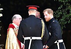 Prince Harry (right) with his best man, the Duke of Cambridge, as he arrives at St George's Chapel at Windsor Castle for his wedding to Meghan Markle.