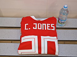 NEWPORT, WALES - Tuesday, September 3, 2019: The Wales shirt of Carrie Jones in the dressing room before the UEFA Women Euro 2021 Qualifying Group C match between Wales and Northern Ireland at Rodney Parade. (Pic by David Rawcliffe/Propaganda)
