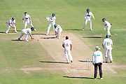 Samit Patel bowling to Harry Swindells during the Specsavers County Champ Div 2 match between Glamorgan County Cricket Club and Leicestershire County Cricket Club at the SWALEC Stadium, Cardiff, United Kingdom on 19 September 2019.