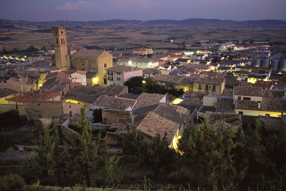 Artajona, Navarra, Spain, at dusk.