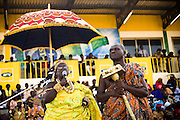 A traditional queen gives a speech during the annual Oguaa Fetu Afahye Festival in Cape Coast, Ghana on Saturday September 6, 2008.
