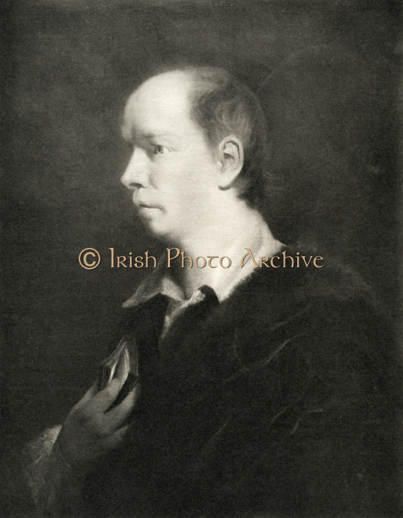 Oliver Goldsmith (1724-1774) Irish-born British playwright and poet and novelist best remembered for the  novel 'The Vicar of Wakefield' (1766) the poem  'The Deserted Village' (1770) and the play 'She Stoops to Conquer' (1773). Lithograph after portrait.