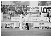 England captain Mike Gatting confonts Pakistan Umpire Shakoor Rana during the 2nd Test Match, Pakistan v England at the Iqbal Stadium Faisalabad, 8.12.1987. Photograph: Graham Morris/cricketpix.com (Tel: +44 (0)20 8969 4192; Email: sales@cricketpix.com) Ref. No. 87663b13