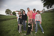 The Pochelu family outside their farm Agerria on Monday, May 10, 2010 in Saint-Martin d'Arberoue, in France.