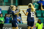 Kim Little (#8) of Scotland celebrates Scotland's third goal (3-0) with Claire Emslie (#18) of Scotland during the Women's Euro Qualifiers match between Scotland Women and Cyprus Women at Easter Road, Edinburgh, Scotland on 30 August 2019.