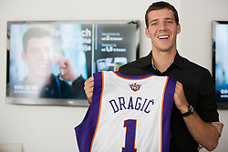 Goran Dragic, Slovenian NBA player after he signed a second contract with Phoenix Suns, on July 24, 2012 in Ljubljana centre, Slovenia.  (Photo by Vid Ponikvar / Sportida.com)