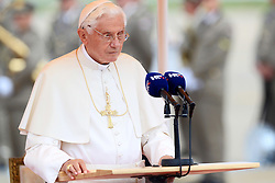 04.06.2011., Zagreb Airport, Zagreb - Papst  Benedict XVI has landed at Zagreb Airport.  President of Croatia Ivo Josipovic and Croatian bishops welcome Papst  Benedict XVI..Photo: Danijel Berkovic/                                                                                                   Foto ©  nph / PIXSELL       ****** out of GER / SWE / CRO  / BEL ******