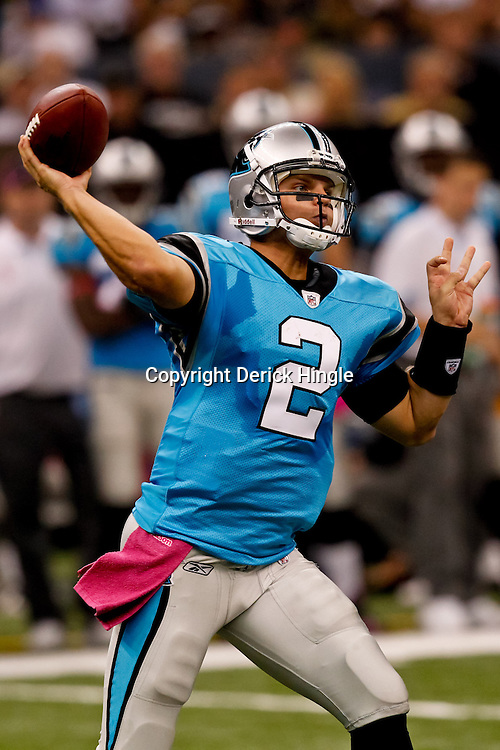 October 3, 2010; New Orleans, LA, USA; Carolina Panthers quarterback Jimmy Clausen (2) passes against the New Orleans Saints during the second quarter at the Louisiana Superdome. Mandatory Credit: Derick E. Hingle