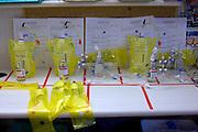 The table with the bottles of chemotherapy for individual patients, Humanitas Clinical Institute, Rozzano, Milan, Italy, 2011. &copy; Carlo Cerchioli<br /> <br /> Il tavolo con i flaconi  della chemioterapia dei singoli pazienti all'Istituto Clinico Humanitas, Rozzano 2011.