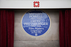 © Licensed to London News Pictures. 17/02/2014. London, UK. A view of the blue plaque in commemoration of Michael Powell and Emeric Pressburger outside the Dorset House on Gloucester Place. Photo credit : Andrea Baldo/LNP