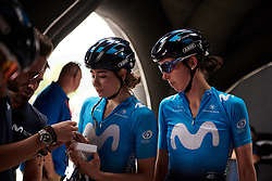 Sheyla Gutierrez Ruiz (ESP) and Aude Biannic (FRA) check out their pre-race goody bag at Stage 7 of 2019 Giro Rosa Iccrea, a 128.3 km road race from Cornedo Vicentino to San Giorgio di Perlena, Italy on July 11, 2019. Photo by Sean Robinson/velofocus.com