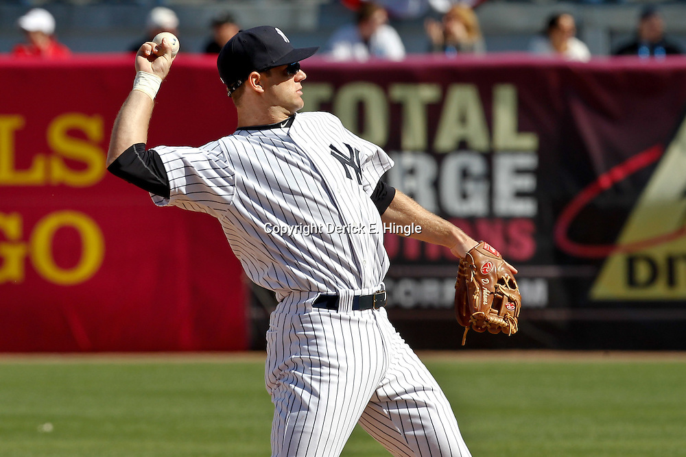 March 4, 2012; Tampa Bay, FL, USA; New York Yankees second baseman David Adams (80) during spring training game against the Philadelphia Phillies at George M. Steinbrenner Field. Mandatory Credit: Derick E. Hingle-US PRESSWIRE