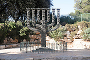 Israel, Jerusalem, The Menorah sculpture by Benno Elkan at the entrance to the knesset, the Israeli parliament,
