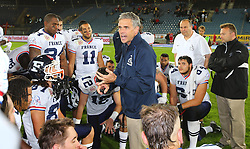 02.06.2014, UPC Arena, Graz, AUT, American Football Europameisterschaft 2014, Gruppe B, Daenemark (DEN) vs Frankreich (FRA), im Bild Mannschaftsbesprechung mit Larry Legault, (Team France, Head Coach) // during the American Football European Championship 2014 group B game between Denmark and France at the UPC Arena, Graz, Austria on 2014/06/02. EXPA Pictures © 2014, PhotoCredit: EXPA/ Thomas Haumer