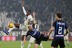December 7, 2018 - Turin, Turin, Italy - Blaise Matuidi #14 of Juventus FC competes for the ball with Marcelo Brozovic #77 of FC Internazionale Milano during the serie A match between Juventus FC and FC Internazionale Milano at Allianz Stadium on December 07, 2018 in Turin, Italy. (Credit Image: © Giuseppe Cottini/NurPhoto via ZUMA Press)
