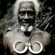 Vanuatu, Malampa Province, Ambrym Island, chieftain jean-denis with wild pig tusks
