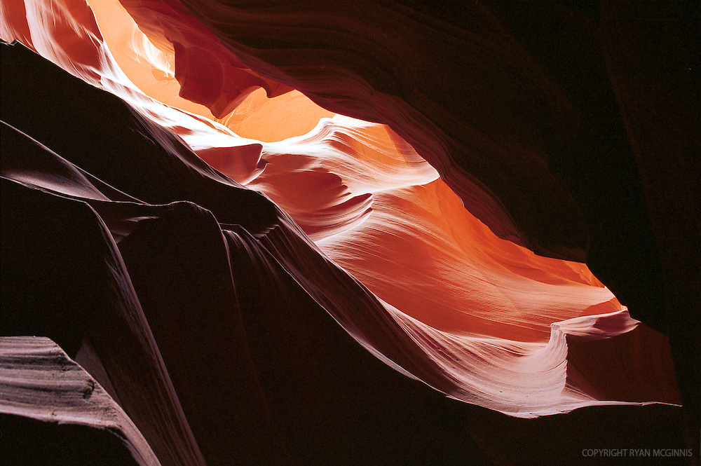 Looking up in Antelope Canyon, 2002.  Velvia 50.