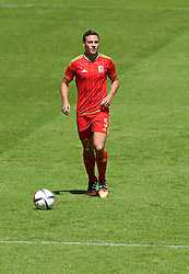 CARDIFF, WALES - Friday, June 5, 2015: Wales' James Chester during a practice match at the Cardiff City Stadium ahead of the UEFA Euro 2016 Qualifying Round Group B match against Belgium. (Pic by David Rawcliffe/Propaganda)