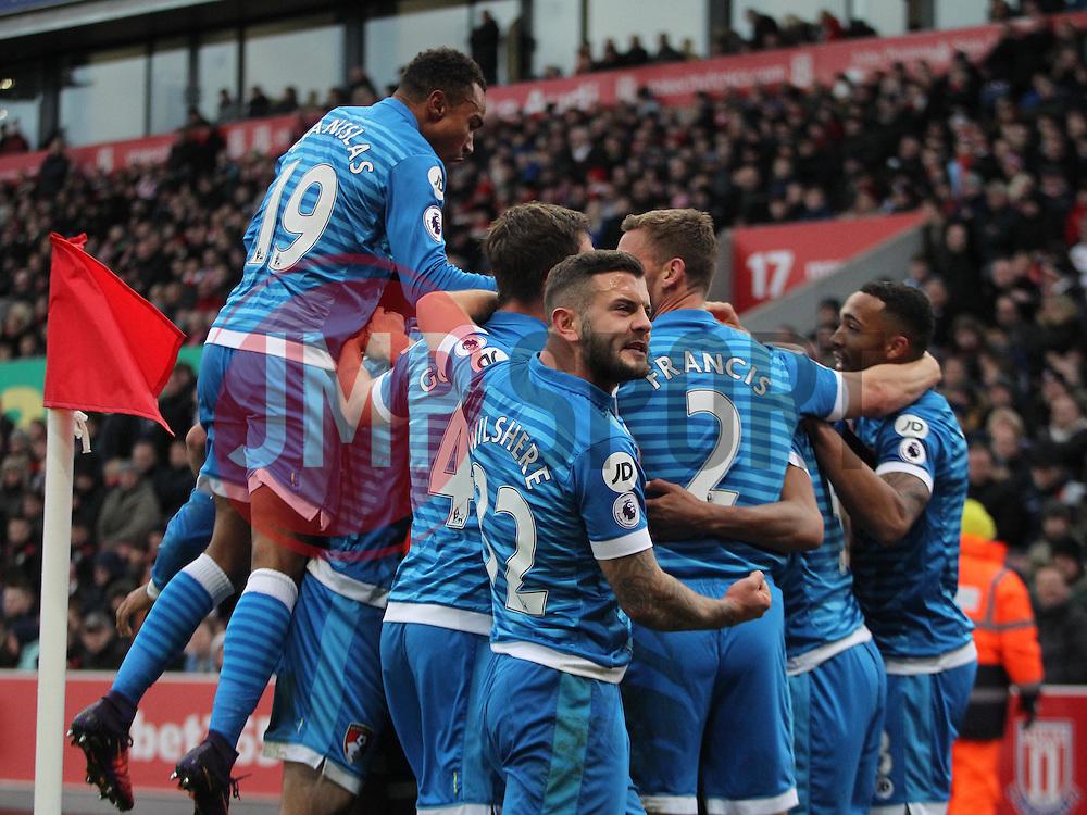 Nathan Ake of Bournemouth (Hidden) celebrates scoring his sides first goal - Mandatory by-line: Jack Phillips/JMP - 19/11/2016 - FOOTBALL - Bet365 Stadium - Stoke-on-Trent, England - Stoke City v Bournemouth - Premier League