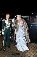 01.01.2016. Copenhagen, Denmark. <br /> Queen Margrethe's II arrival to Amalienborg Palace for the traditional gala dinner with the Danish government officials, civil servants, and members/employees of the royal court. <br /> Photo: &copy; Ricardo Ramirez