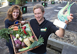 Repro Free: 14/10/2014 Eileen Bentley, Prepared Foods Manager at Bord Bia is pictured with winner of is pictured with Kenneth Keavey of Green Earth Organics, Galway winner of the Direct Selling Award for thir Large vegetable box at the National Organic Awards held in Bord Bia's Dublin headquarters. Over 80 industry representatives gathered for the event that rewards quality and excellence within the Irish organic sector across categories including direct selling, innovation and export.  Picture Andres Poveda